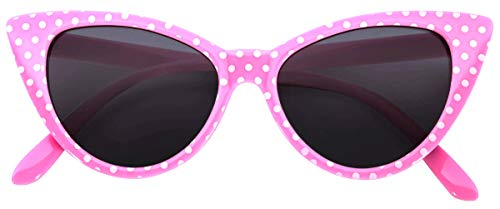 OWL Cat Eye Sunglasses Pink White Dot Smoke Lens
