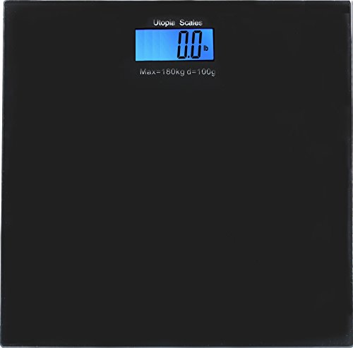 Digital Glass Bathroom Scale Black - Holds up to 396 lbs by Utopia Home