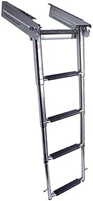Stainless Steel 4 Step Telescoping Ladder Under Platform Slide Mount Extendable Ladder 1160 Pound Capacity for