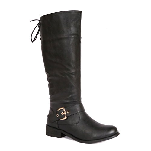 Bucco Lykke Kvinners Høye Knee High Fashion Støvler Med Glidelås Svart