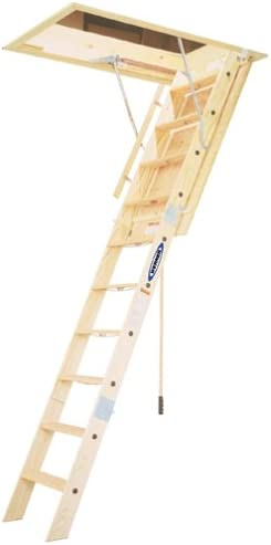 250-Pound Capacity Louisville Ladder 22.5-by-54-Inch Wooden Attic Ladder Renewed Fits 8-Foot 9-Inch to 10-Foot Ceiling Height L224P