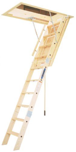Werner WH2208 350-Pound Duty Rating Wood Folding Heavy Duty Attic Ladder, 8-Foot by Werner
