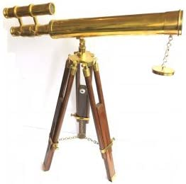 Antique Brass Nautical Tripod Double Barrel Telescope Gift Telescope with Stand