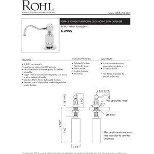 Rohl U.6995PN Deck Mounted Soap Dispenser In