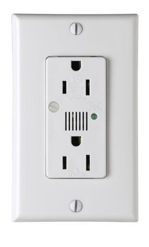 Leviton 7280-W 15 Amp, 125 Volt, Decora Duplex Surge Suppressor Receptacle, Straight Blade, Industrial Grade, Self Grounding, Surge w/Indicator Light & Audible Alarm, White