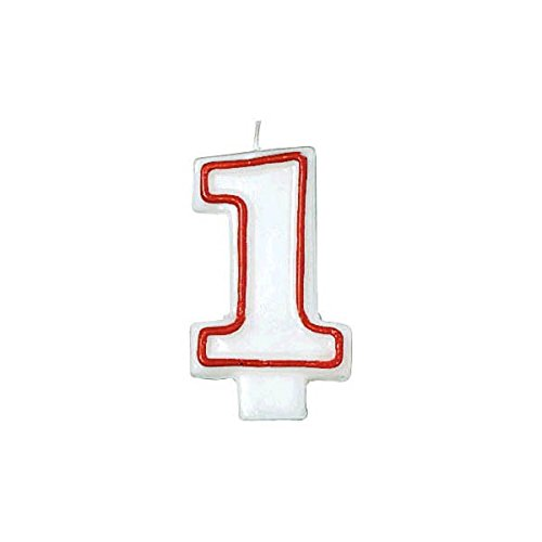 Amscan Red/White Flat Molded #1 Candle | Party Supply