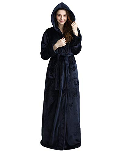 e7830edd7f Womens Long Hooded Bathrobe Fleece Full Length Bathrobe with Hood Winter  Sleepwear