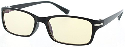 Fiore® Amber Lens Computer Reading Glasses w/ Metal Accents (Black)
