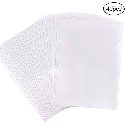 EOOUT 40pcs Plastic Clear Document Folder, Project Pockets Folders with Pockets, US Letter/A4 Size, Transparent Color ()