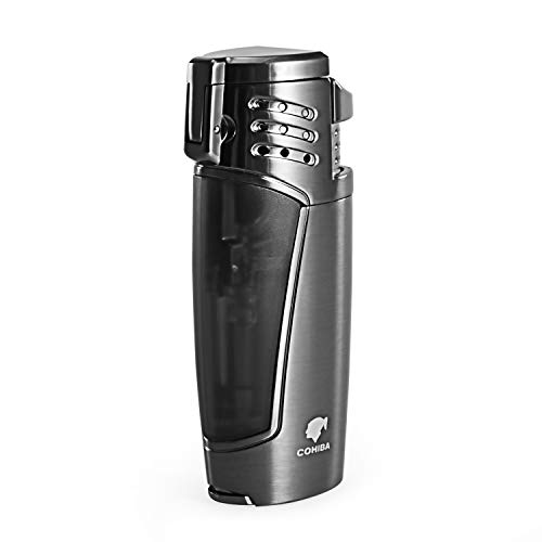 Cigar Lighter, Triple 3 Jet Flame Refillable Butane Torch Lighter with Punch by CigarMaster (Image #1)