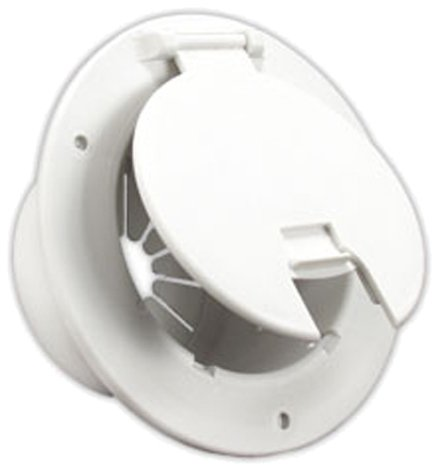 - JR Products 541-2-A Polar White Deluxe Round Electric Cable Hatch with Back
