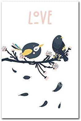 YuanMinglu Cartel nórdico de Dibujos Animados Imagen pájaro de la Suerte Animal Lienzo Pintura habitación de los niños Arte de la Pared decoración póster e Impresiones sin Marco 50x70 cm: Amazon.es: Hogar