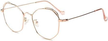LIUYALE Polygon Metall Galsses Schutz der Augen Leicht stark und robust Rahmen Anti-Ermüdung der Augen High Density Blu-ray Flachglas Galsses Brillenfassungen (Color : Rose Gold)