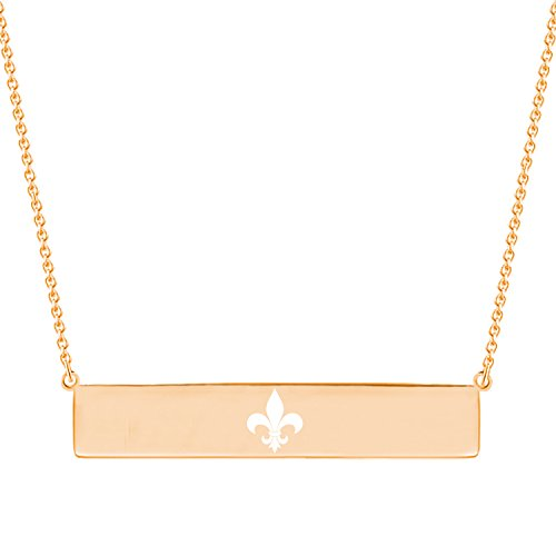Rose Gold Plated Sterling Silver Fleur De Lis Symbol Minimalist Horizontal Bar Y Necklace Pendant ()