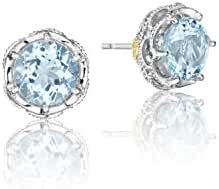 Tacori SE10502 Island Rains Sterling Silver Sky Blue Topaz Crescent Crown Stud Earrings