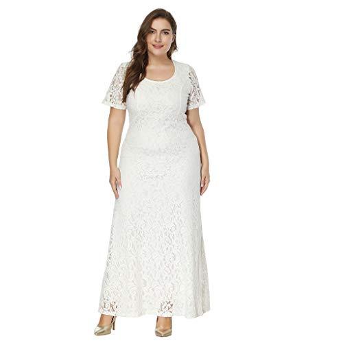 AgrinTol Women Oversize Dress Vintage Floral Lace Plus Size Cocktail Party Formal Swing Dress (L6, White)