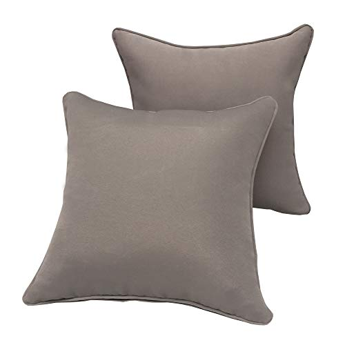Vanteriam 2 Pack Decorative Outdoor Solid Waterproof Throw Pillow Cover with Piping, Accent Pillow case for Outdoor Patio Furniture Set, Square 18''x18'' Gray (Outdoor Waterproof Pillows)
