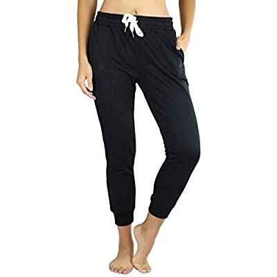 ToBeInStyle Women's Drawstring Waistband French Terry Capri Jogger Pants at Women's Clothing store