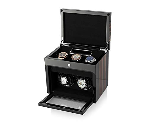 Double Watch Winder Box for Self-Winding 2 Automatic Watches with LED Case Backlight, LCD Display and 3 Watches Storage Compartment for All Watch Brands and All Watch Sizes (Macassar)