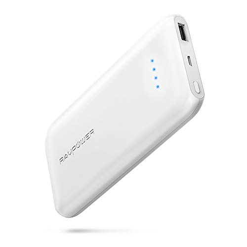 RAVPower Quick Charge 3.0 10000mAh Portable Charger with QC 3.0 Input & Output, Ultra-Slim 10000 Power Bank with High-Density Li-Polymer Battery Pack for iPhone, iPad, Galaxy and More (White)