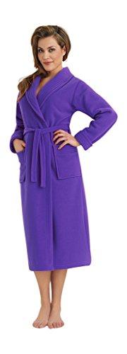 Caliente y Suave Bata larga para Mujer con Collar Bolsillos y Correa Púrpura oscuro