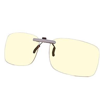 GAMEKING Ultra Lightweight Blue Light Blocking Clip-on Computer Glasses Gaming Glasses Rimless   Easy Fit on Rx Frames   Digital Eyestrain Fatigue Headache Relief   Sleep Better