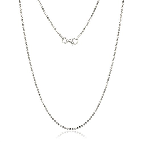 Italian Sterling Silver Rhodium-plated 1.0mm Bead Chain (16-20