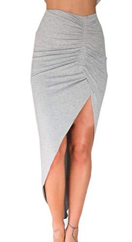 (M&S&W Women's High Waisted Elastic Pleat Irregular Hem Casual Pencil Skirt Grey L)