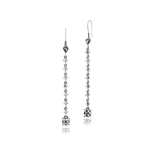 Gemondo 925 Sterling Silver Marcasite Long Dangle Heart & Square Drop ()