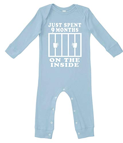 Funny Cute Baby Boy & Baby Girl Clothes | Handmade Bodysuits by Aiden's Corner | 9 Months On The Inside (12 Months Pajamas, Lt Blue Sleepwear)