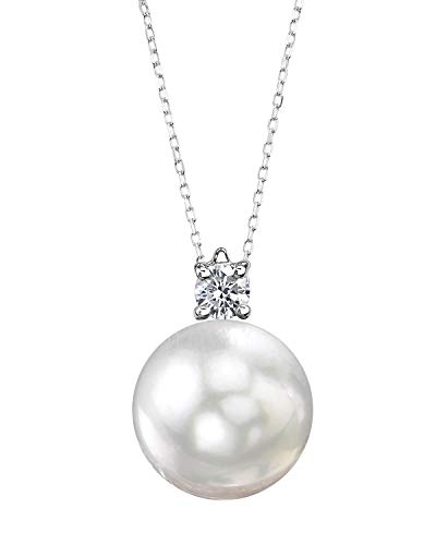 THE PEARL SOURCE 14K Gold 13-14mm Round White South Sea Cultured Pearl & Diamond Ellie Pendant Necklace for Women