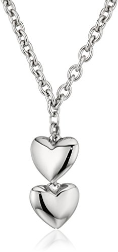 ELYA Jewelry Womens Stainless Steel Dangling Hearts Pendant Necklace, White, One Size