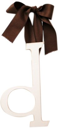 New Arrivals Wooden Letter D with Solid Brown Ribbon, Cream