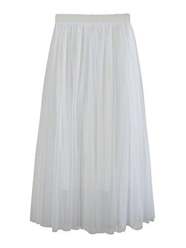 Ad In Lunga Colore A Vita Solida 3 Elastico Casual Linea Elegante Tulle Bianco Gonna Donna Stile Di Strati 6XR5Xaq