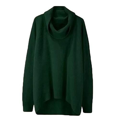 [해외]Sunnyadrain Fashion Women Solid High Collar Irregular Hem Long Sleeve Pullover Loose Sweater / Sunnyadrain Fashion Women Solid High Collar Irregular Hem Long Sleeve Pullover Loose Sweater Green