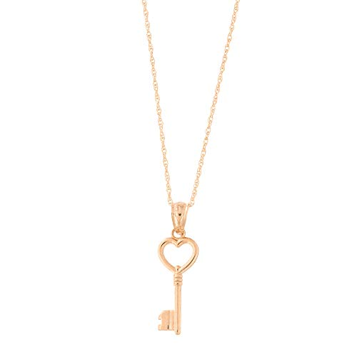 - Beauniq 14k Rose Gold Heart Vintage Key Pendant Necklace (18
