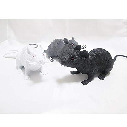 Xuxuou 1 Pieza Gran Rata Simulado de Halloween Realista Rat/ón de Prank Props Size 40cm Blanco