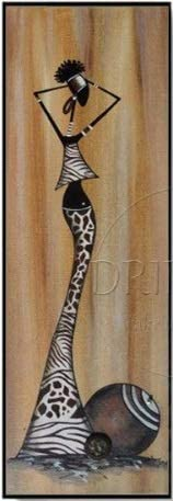 SoulSpaze Unique Wall Art Pictures Artist Hand Painted Long Size Vertical Rectangle Oil Painting Abstract African Woman Oil Painting 2 Size 2