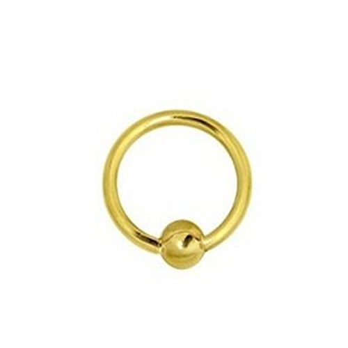 Ritastephens 14K Solid Yellow Gold Captive Ball Closure Bead Nipple Ring Body Jewelry 16 gauge