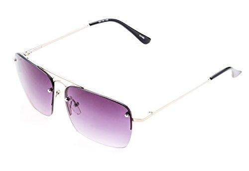 Soleil PLATINUM PS-MS41 Rectangular Cut Lens, Clubmaster Style (Silver, Purple Gradient - Tints Sunglasses