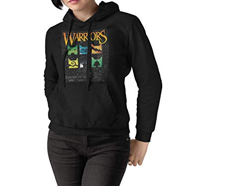 Warrior Cats Hoodie Clan Icons Unisex for Warriors Series Book Readers Makes a Great Gift (Medium) Black