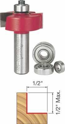"""Freud 5/16"""", 3/8"""", 7/16"""", 1/2"""" Depth Rabbeting Bit Set with interchangeable bearings with 1/2"""" Shank (32-522) from Freud"""