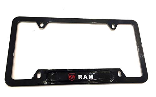 DODGE RAM Red Logo Emblem Modern GLOSS BLACK Finish License Plate Frame Automotive Grade 100% Stainless Steel Durable Construction, Fits all Dodge models Pickup 4X4 Truck Offroad heavy-duty tough cab