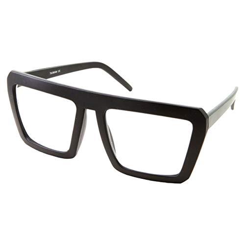 Black Square Nerd Glasses | Non-Prescription Clear Lens | Fashion Costume Wear (Matte