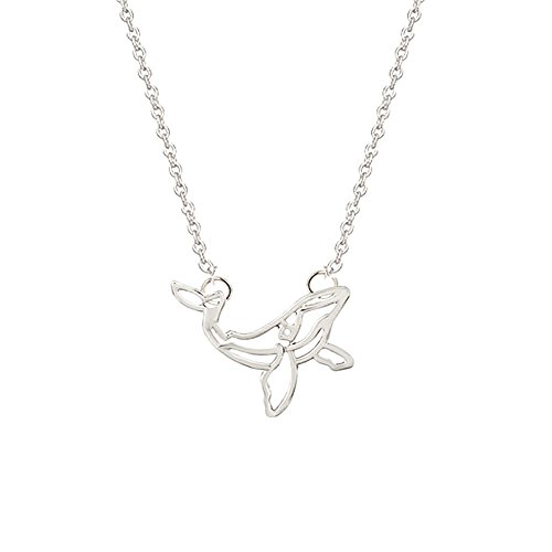 Cute Hollow Whale Pendant Necklace for Women and Girl (Silver)