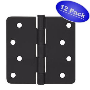 12 Pack - Cosmas Flat Black Door Hinge 4'' Inch x 4'' Inch with 1/4'' Inch Radius Corners