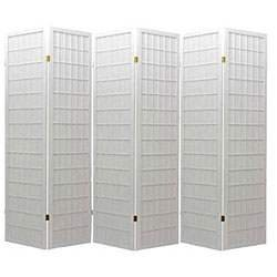 ACME 02277 Naomi 3-Panel Wooden Screen, Cherry Finish (White, 6 panel)