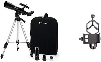 Celestron 21038 Travel Scope 50 Telescope (Black) with Basic Smartphone Adapter 1.25