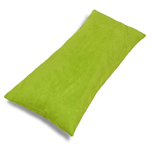 Aiking Home Collection Creative Luxury Faux Suede Body Pillow Cover with Hidden Zipper 20 by 54, Lime