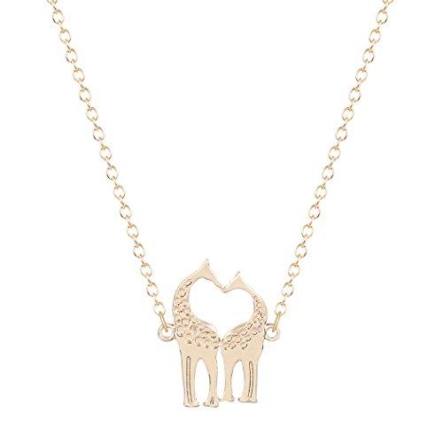 Dayone Handmade Charm Giraffe Heart Shaped Sweetheart Pendant Necklace Alloy Jewelry Collares Gold (Heart Shaped Giraffes)